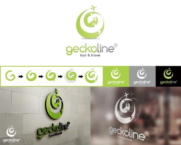 """Logo desain """"geckoline"""" tour and travel"""