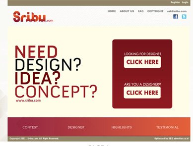The first Sribu.com homepage