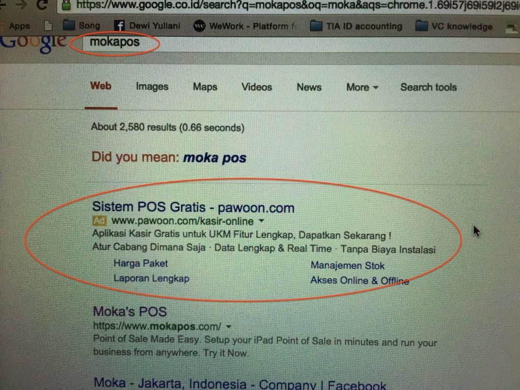 Keyword Mokapos di google, tapi yang muncul...
