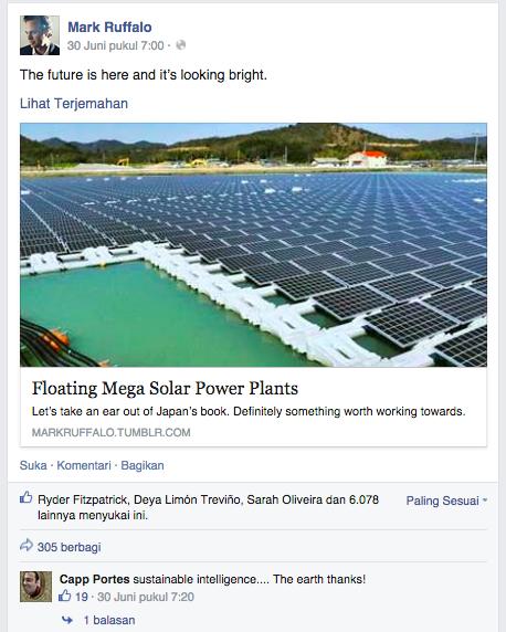 Mark Ruffalo, selebriti Hollywood yang juga menjadi marketing influencer untuk campaign clean energy 100%