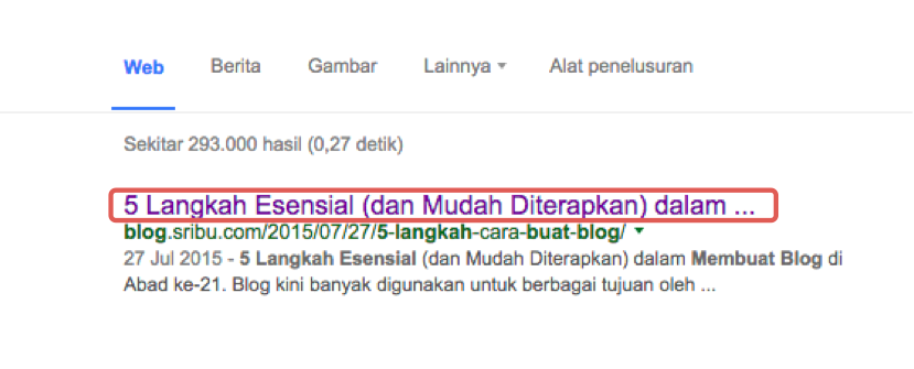 Title Tags yang tampil dalam search results
