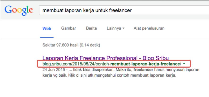 Url tampil dalam search result. Pastikan url singkat, padat, mudah dicopy-paste, dan menarik untuk diklik