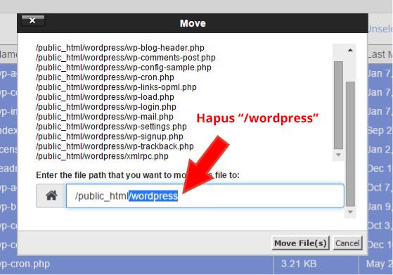 hapus wordpress