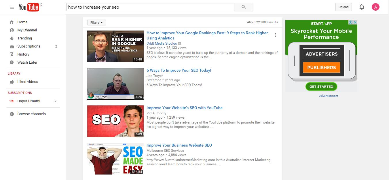 seo search youtube