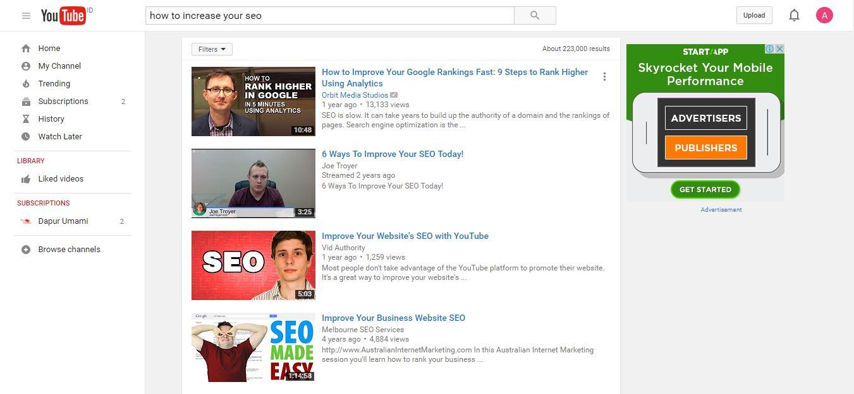 seo search youtube