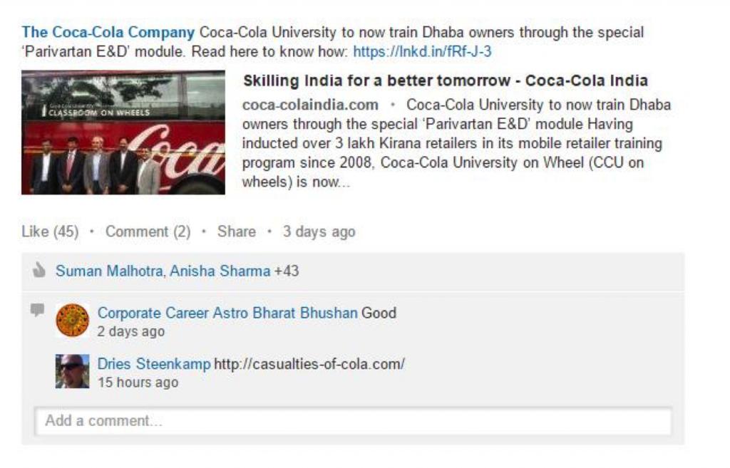 Coca Cola LinkedIn