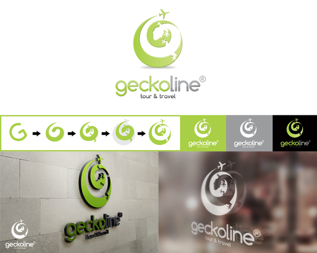 "Logo desain ""geckoline"" tour and travel"