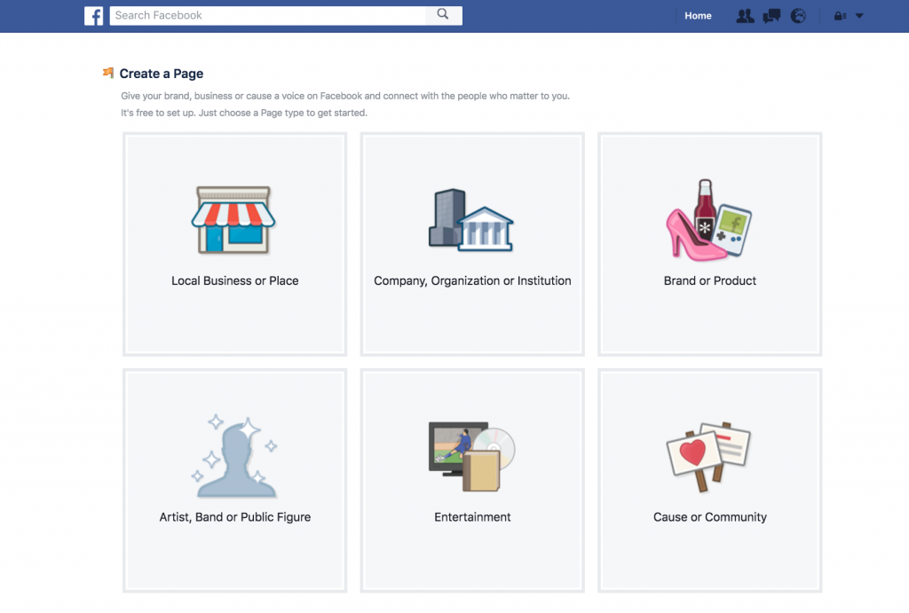 Select Facebook Page Type