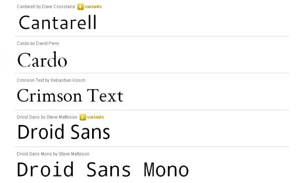 google-font-directory