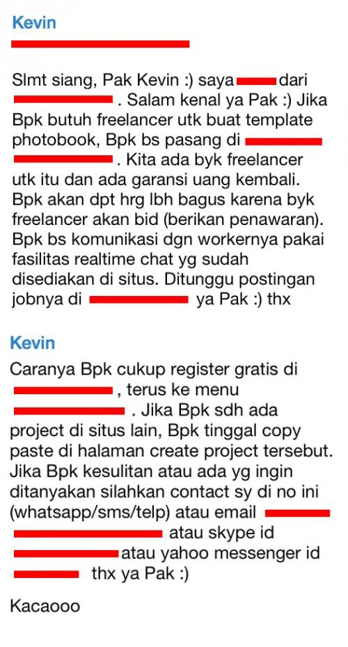 Startup B menggangu klien kami via SMS