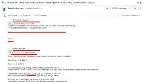 Email teror dari Startup B ke klien kami yang baru post job di Sribulancer