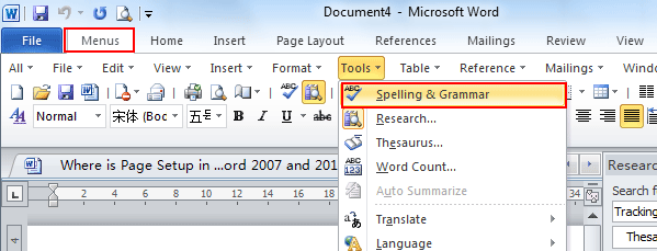 Spell and grammar checker in Word