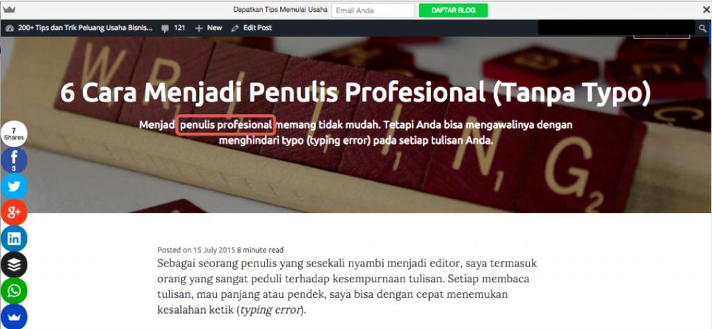 Keyword diletakan dekat bagian teratas web page