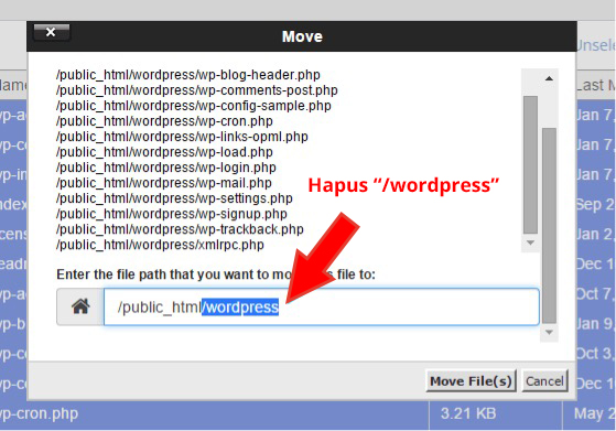 hapus wordpress
