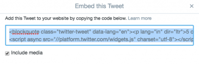 Embed Tweet URL