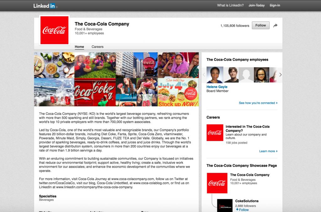 Coca Cola LinkedIn Page