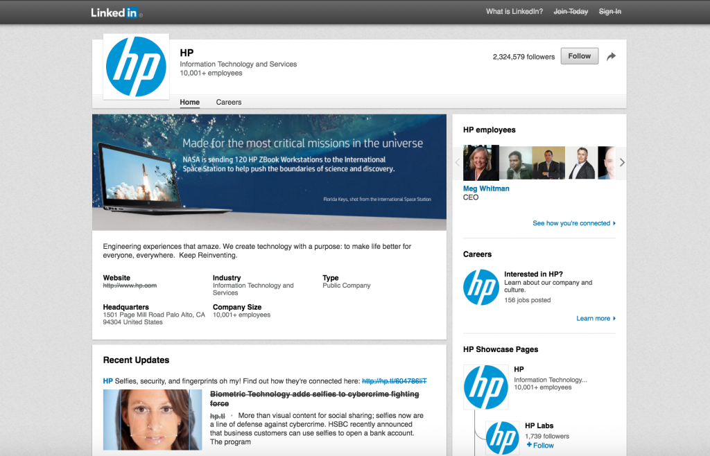 HP LinkedIn Page