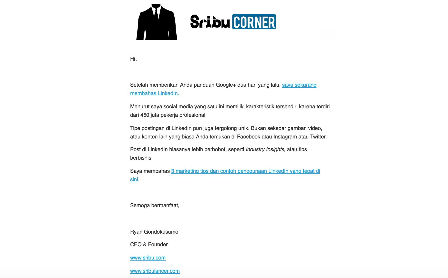 SribuCORNER weekly email