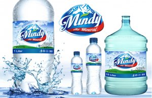 Desain kemasan air minum Mindy