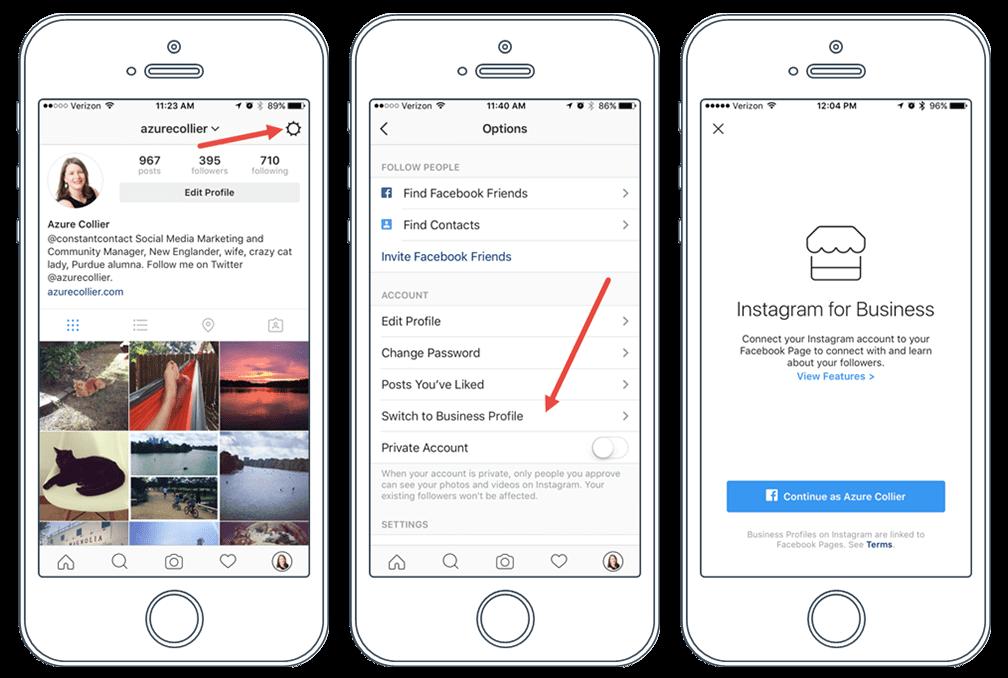 membuat akun instagram bisnis via menu setting