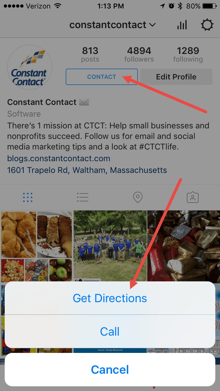 menghubungi lewat fitur kontak instagram