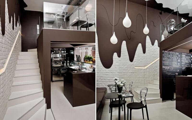 Dinding yang menyerupai lelehan coklat sebagai contoh gastronomic analogy
