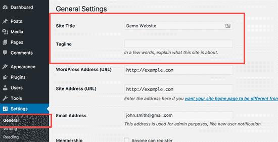 cara membuat website gratis wordpress mengganti judul situs
