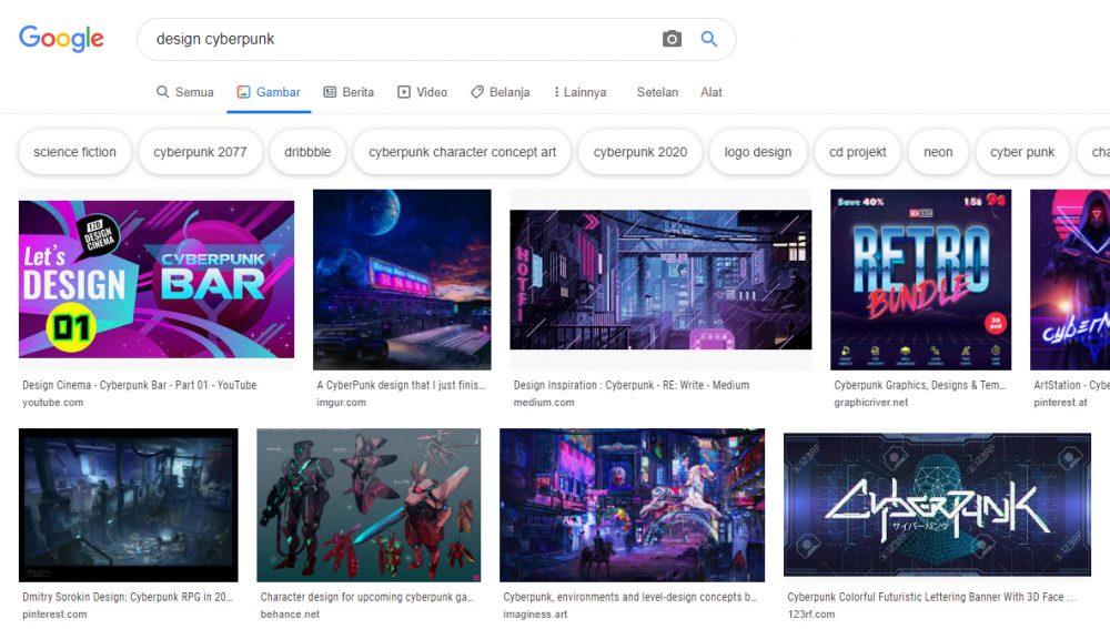 Beberapa contoh desain dengan tema cyberpunk
